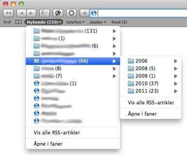 Skjermbilete: Safari med RSS-bokmerke